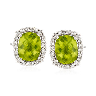 C. 1990 Vintage 3.50 ct. t.w. Peridot and .50 ct. t.w. Diamond Earrings in 14kt White Gold, , default