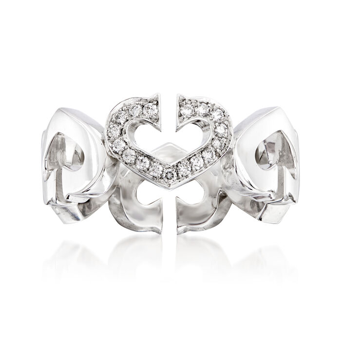 C. 1990 Vintage Cartier .13 ct. t.w. Diamond Heart Ring in 18kt White Gold. Size 4.5, , default