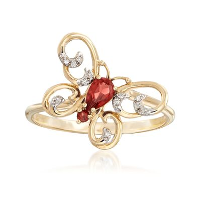 .22 ct. t.w. Garnet Butterfly Ring with Diamond Accents in 14kt Yellow Gold, , default