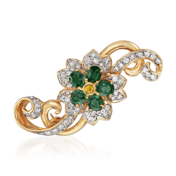 C. 1980 Vintage 2.58 ct. t.w. Green and Yellow Sapphire and 1.10 ct. t.w. Diamond Flower Pin in 18kt Yellow Gold