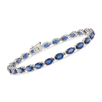 12.00 ct. t.w. Sapphire and .29 ct. t.w. Diamond Bracelet in 14kt White Gold, , default