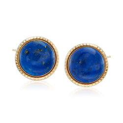 Round Lapis Rope-Edged Earrings in 14kt Yellow Gold, , default