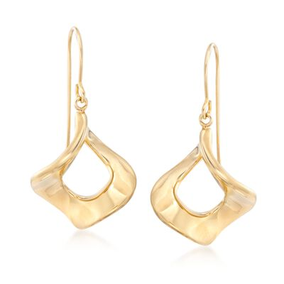 14kt Yellow Gold Twisted Square Earrings, , default