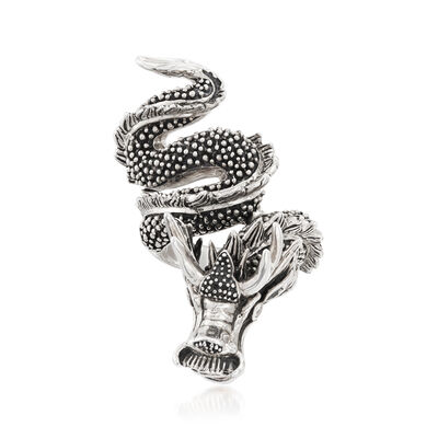 Sterling Silver Dragon Wrap Ring with CZ Accents, , default