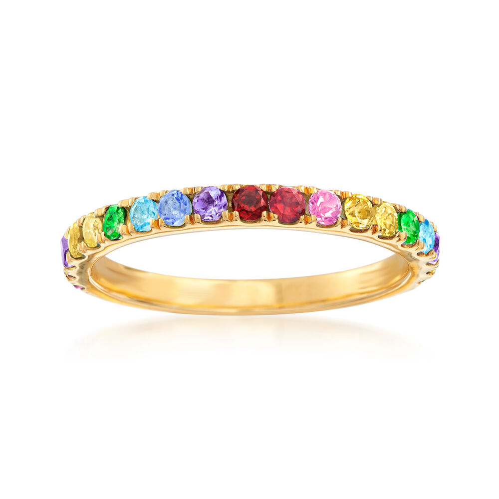 64 ct  t w  Multi-Gemstone Rainbow Ring in 18kt Gold Over Sterling
