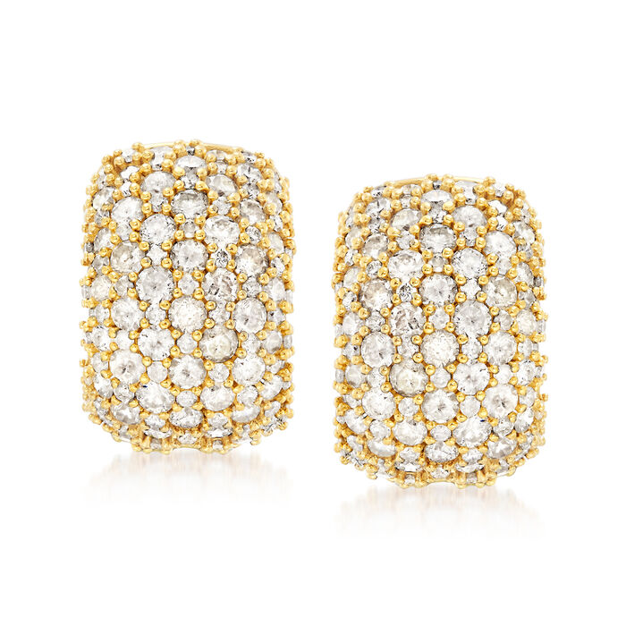 """5.00 ct. t.w. Pave Diamond Earrings in 18kt Gold Over Sterling. 1/2"""""""