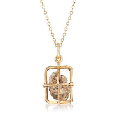 C. 1970 Vintage Caged Rock Pendant Necklace in 10kt and 14kt Gold, , default