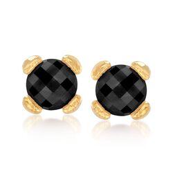 Italian Andiamo Black Onyx Earrings in 14kt Gold, , default