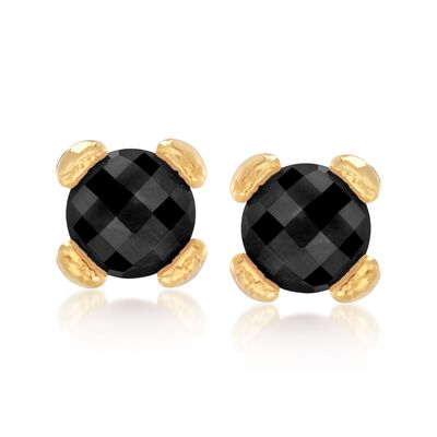 Italian Andiamo Black Onyx Earrings in 14kt Gold, , default