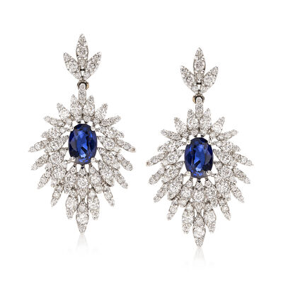 2.10 ct. t.w. Diamond and 2.00 ct. t.w. Sapphire Drop Earrings in 14kt White Gold, , default