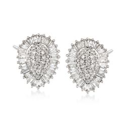 1.00 ct. t.w. Diamond Pear-Shaped Cluster Stud Earrings in 14kt White Gold, , default