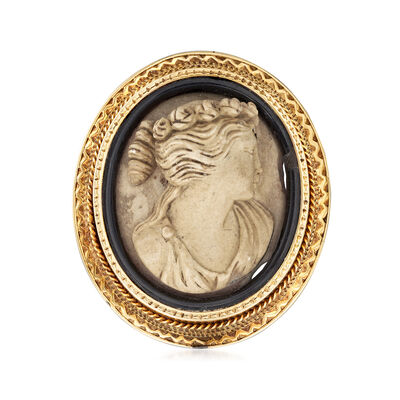 C. 1930 Vintage 18x16mm Soapstone and Black Onyx Cameo Pin in 9kt Yellow Gold, , default