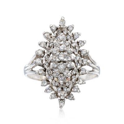C. 1980 Vintage 1.00 ct. t.w. Diamond Navette Cluster Ring in 14kt White Gold, , default