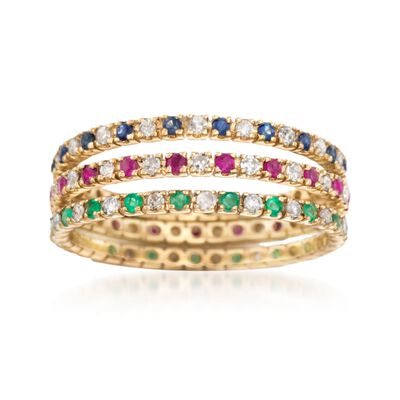 .72 ct. t.w. Multi-Stone Jewelry Set: Three Eternity Bands in 14kt Yellow Gold, , default
