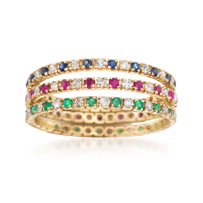 .72 ct. t.w. Multi-Stone Jewelry Set: Three Eternity Bands in 14kt Yellow Gold