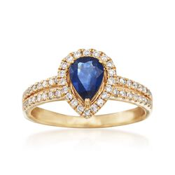 .80 Carat Pear-Shaped Sapphire and .32 ct. t.w. Diamond Ring in 18kt Yellow Gold, , default