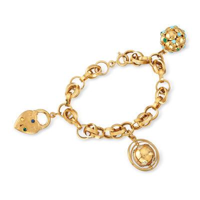 C. 1990 Vintage 18kt Yellow Gold Charm Bracelet with Multi-Gem Accents