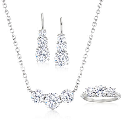 6.25 ct. t.w. CZ Jewelry Set: Necklace, Ring and Earrings in Sterling Silver