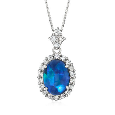 C. 1980 Vintage Black Opal and .85 ct. t.w. Diamond Pendant Necklace in Platinum