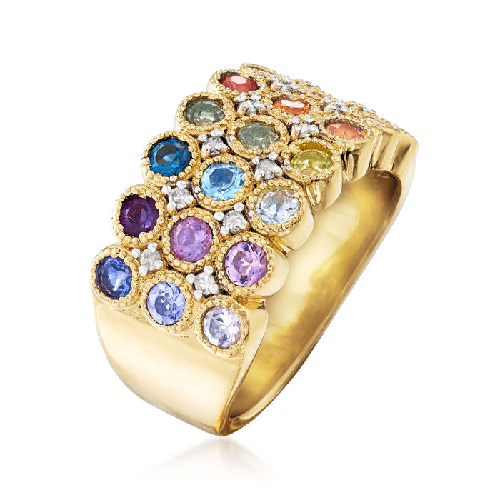 1.20 ct. t.w. Multi-Gemstone and .14 ct. t.w. Diamond Ring in 18kt Gold Over Sterling