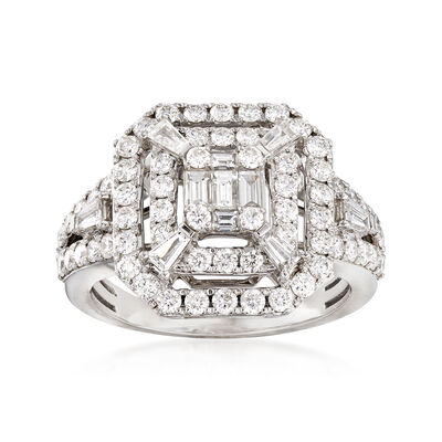 C. 2005 Vintage 1.45 ct. t.w. Diamond Square-Top Ring in 14kt White Gold, , default