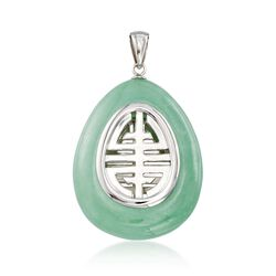 Green Jade Teardrop Pendant Necklace in Sterling Silver, , default