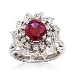 C. 1970 Vintage 2.50 Carat Ruby and .45 ct. t.w. Diamond Ring in 14kt White Gold, , default