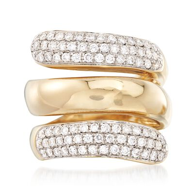1.00 ct. t.w. Pave Diamond Bypass Coil Ring in 14kt Yellow Gold, , default