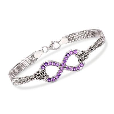 Italian .90 ct. t.w. Amethyst Infinity Symbol Multi-Strand Bracelet in Sterling Silver, , default