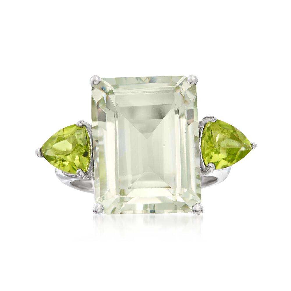 276f100a5cd88 11.00 Carat Emerald-Cut Green Prasiolite and 1.40 ct. t.w. Peridot Ring in  Sterling Silver