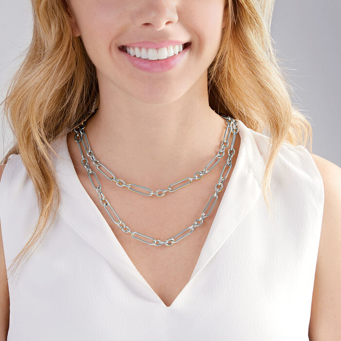Italian Sterling Silver Alternating Paper Clip Link Necklace