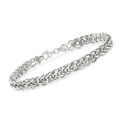 18kt White Gold Wheat-Link Bracelet, , default
