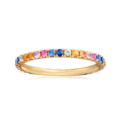 .60 ct. t.w. Multicolored Sapphire Ring in 14kt Yellow Gold