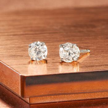 .75 ct. t.w. Diamond Stud Earrings in 14kt White Gold, , default
