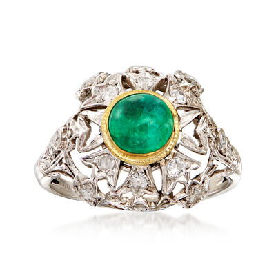 C. 1950 Vintage .70 Carat Emerald and .40 ct. t.w. Diamond Cocktail Ring in Platinum with 14kt Yellow Gold, , default