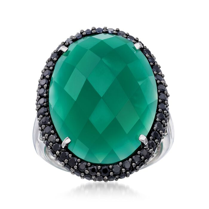 Green Chalcedony and 1.50 ct. t.w. Black Spinel Ring in Sterling Silver