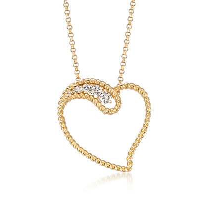 "Roberto Coin ""Barocco"" .12 ct. t.w. Diamond Heart Pendant Necklace in 18kt Yellow Gold"
