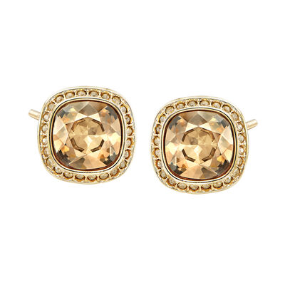 "Swarovski Crystal ""Latitude"" Stud Earrings in Gold-Plated Metal, , default"