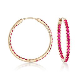 "1.20 ct. t.w. Ruby Inside-Outside Hoop Earrings in 14kt Yellow Gold. 7/8"", , default"