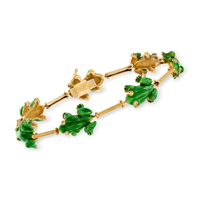 C. 1980 Vintage Green Enamel Frog Bracelet with Diamond Accents in 18kt Yellow Gold