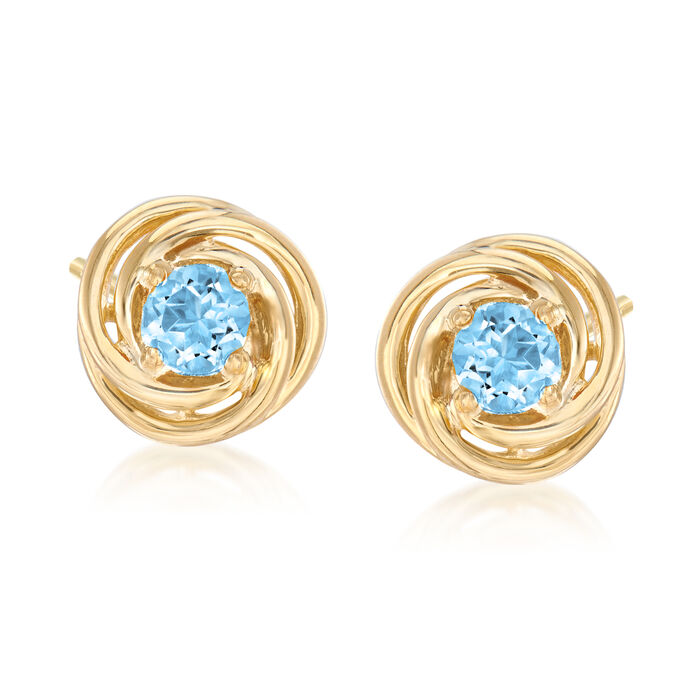 1.00 ct. t.w. Blue Topaz Love Knot Earrings in 18kt Gold Over Sterling Silver