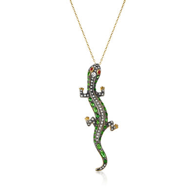 C. 1970 Vintage 4.25 ct. t.w. Green Garnet, 1.05 ct. t.w. Brown Diamond and .10 ct. t.w. Ruby Lizard Pendant Necklace in Sterling Silver and 14kt Yellow Gold