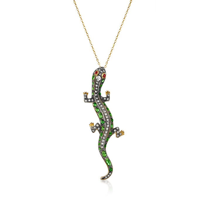 C. 1970 Vintage 4.25 ct. t.w. Green Garnet, 1.05 ct. t.w. Brown Diamond and .10 ct. t.w. Ruby Lizard Pendant Necklace in Sterling Silver and 14kt Yellow Gold. 18""
