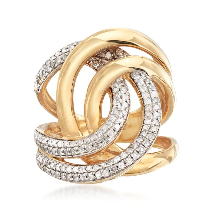 1.00 ct. t.w. Diamond Interlocking Loop Ring in 18kt Gold Over Sterling, , default