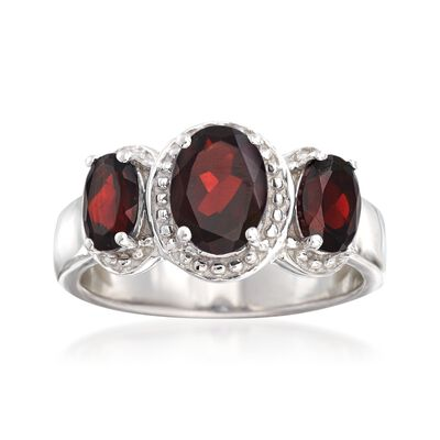 2.40 ct. t.w. Garnet Three-Stone Ring in Sterling Silver, , default
