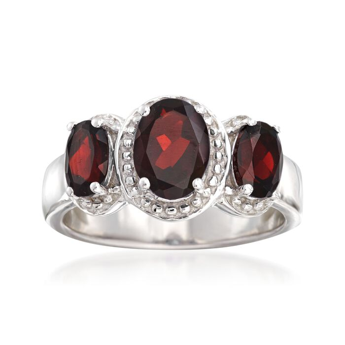 2.40 ct. t.w. Garnet Three-Stone Ring in Sterling Silver