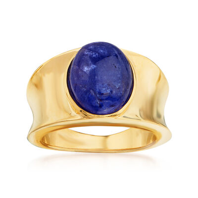 7.00 Carat Tanzanite Concave Ring in 18kt Gold Over Sterling