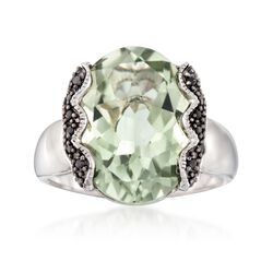 7.50 Carat Green Amethyst and .10 ct. t.w. Black Spinel Ring in Sterling Silver, , default