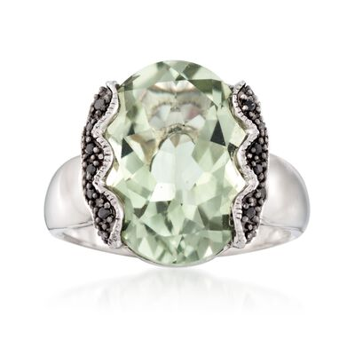 7.50 Carat Green Prasiolite and .10 ct. t.w. Black Spinel Ring in Sterling Silver, , default