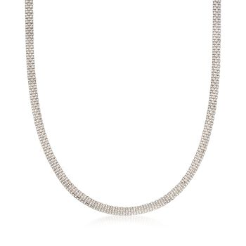 Italian Sterling Silver Flat-Link Chain Necklace , , default